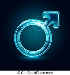 símbolo del género, fondo negro, macho, brillar