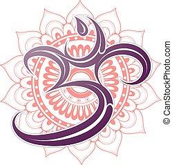 símbolo del om, con, mandala