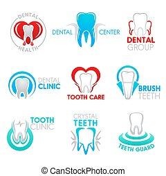 símbolo, dental, odontologia, clínica, dente