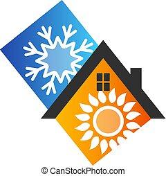 símbolo, desenho, condicionamento, ar