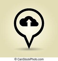símbolo, desenho, isolado, nuvem, ícone
