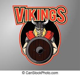 símbolo, desenho, vikings, ilustração
