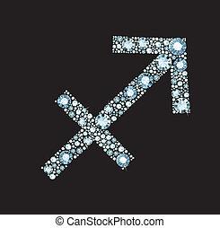 símbolo, diamante, sagitario