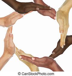 símbolo, diversidad, ethnical, manos humanas