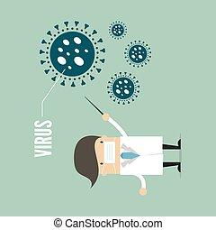 símbolo., doctor, virus, puntiagudo