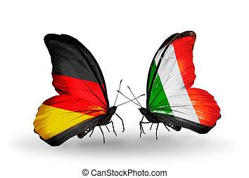 símbolo, dos, relaciones, mariposas, banderas, irlanda, ...