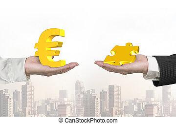 símbolo, duas mãos, pedaço, quebra-cabeça, euro
