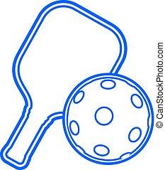 símbolo, elegante, deporte, pickleball, plano, azul