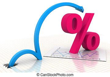 símbolo, em movimento, porcentagem, seta