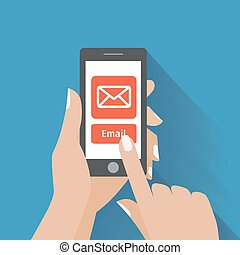 símbolo, email, telefone, mão comovedora, tela, esperto