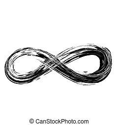 símbolo, empate, infinito, mano, grunge