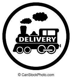 símbolo, -, entrega, trem, em movimento, ícone