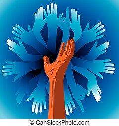 símbolo, equipe, mãos