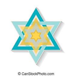 símbolo, estrella, blanco, david