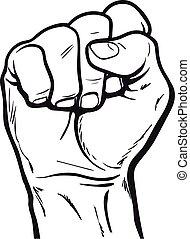 símbolo, exposiciones, puño, potencia, mano