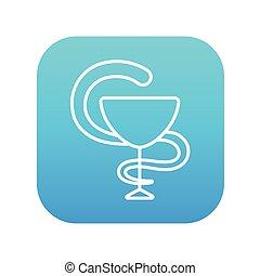 símbolo, farmacéutico, médico, línea, icon.
