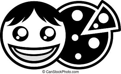 símbolo, feliz, pretas, pizza, rosto