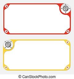 símbolo, flechas, dos, vector, marcos, email