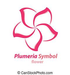 símbolo, flor, (frangipani), plumeria