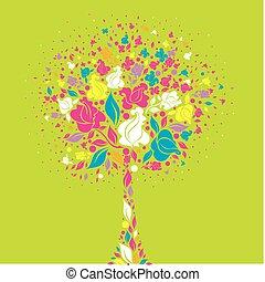 símbolo, flores, árvore, coloridos