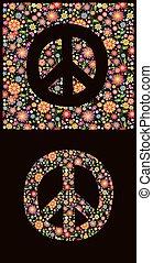 símbolo, flores, paz, papel pintado