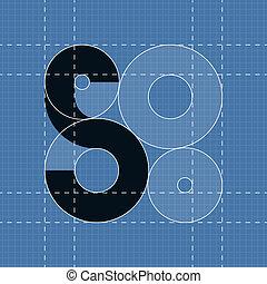 símbolo, font., s, engenharia, redondo