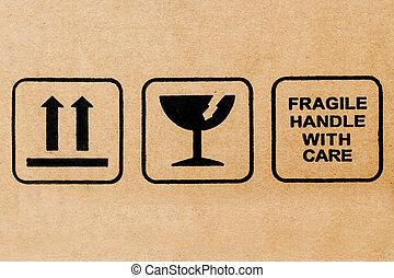 símbolo, frágil, negro, cartón