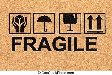 símbolo, frágil, papelão
