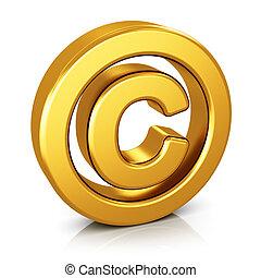 símbolo, fundo branco, isolado, direitos autorais