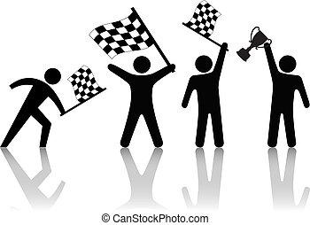 símbolo, gente, onda, bandera de checkered, asimiento, victoria, trofeo