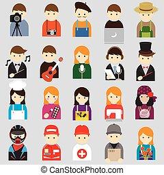símbolo, gente, vario, iconos
