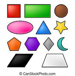 símbolo, geométrico, icono, vector, formas, design.