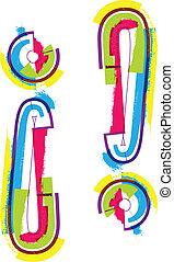 símbolo, grunge, colorido