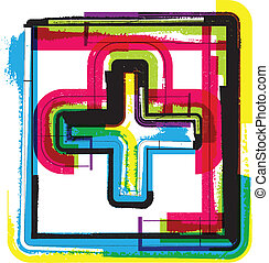símbolo, grunge, coloridos