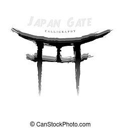 símbolo, hand-drawn, calligraphy., japão, portão, abstratos