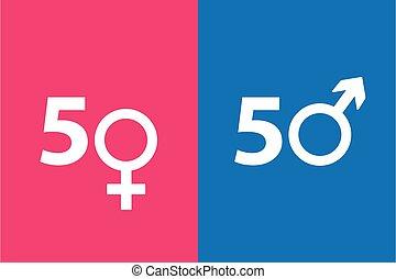 símbolo, hembra, concepto, macho, derechos iguales, icono