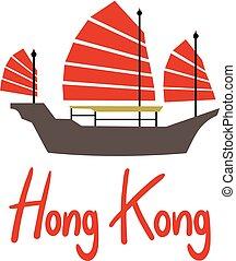 símbolo, hong, barco, kong