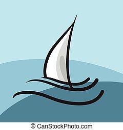 símbolo, iate, ilustração, hand-drawn, ícone