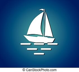 símbolo, iate, mar