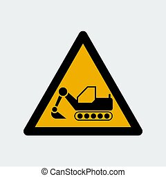 símbolo, ilustração, dozer, vetorial, sinal., escavador