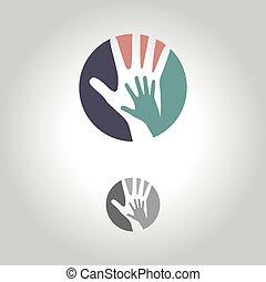 símbolo, ilustração, mão, vetorial, logotipo, ícone