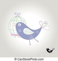 símbolo, ilustração, vetorial, pássaro, logotipo, ícone