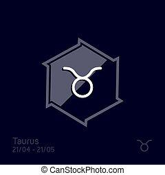 símbolo, ilustração, vetorial, touro, signos, sinal.,...