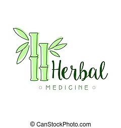 símbolo, ilustración, herbario, vector, medicina, logotipo