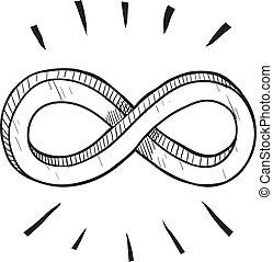 símbolo, infinidade, esboço
