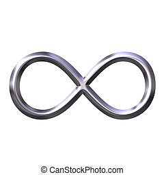 símbolo, infinito, plata, 3d