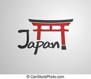 símbolo, japón, torii