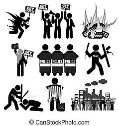 símbolo, jogo, pretas, protesto, ícone