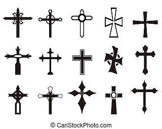 símbolo, jogo, religiosas, crucifixos