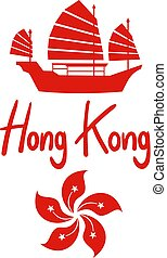 símbolo, kong, hong, rojo, agradable
